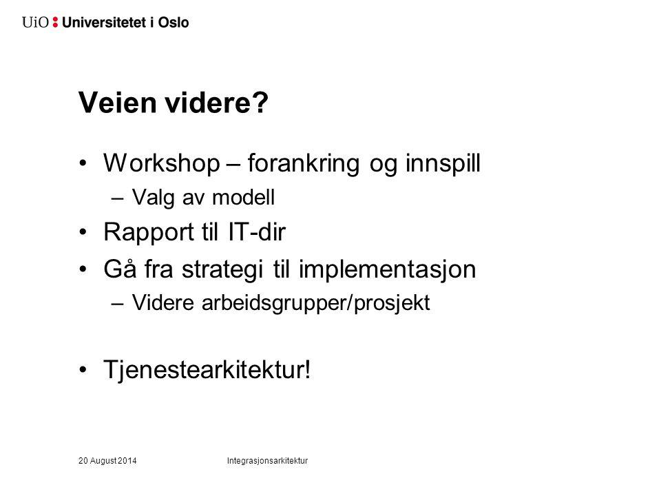 Veien videre? Workshop – forankring og innspill –Valg av modell Rapport til IT-dir Gå fra strategi til implementasjon –Videre arbeidsgrupper/prosjekt