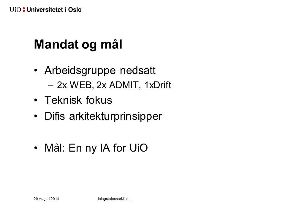 Mandat og mål Arbeidsgruppe nedsatt –2x WEB, 2x ADMIT, 1xDrift Teknisk fokus Difis arkitekturprinsipper Mål: En ny IA for UiO 20 August 2014Integrasjo