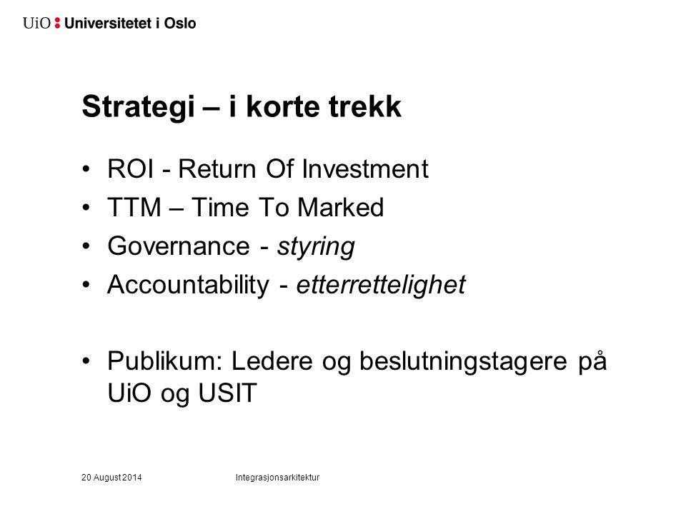 Strategi – i korte trekk ROI - Return Of Investment TTM – Time To Marked Governance - styring Accountability - etterrettelighet Publikum: Ledere og be