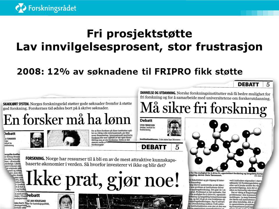 Fri prosjektstøtte Lav innvilgelsesprosent, stor frustrasjon 2008: 12% av søknadene til FRIPRO fikk støtte