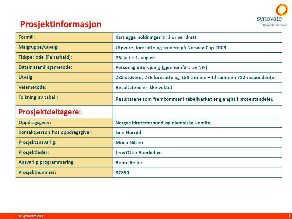 © Synovate 2009 1 Formål: Kartlegge holdninger til å drive idrett Målgruppe/utvalg: Utøvere, foresatte og trenere på Norway Cup 2009 Tidsperiode (Felt