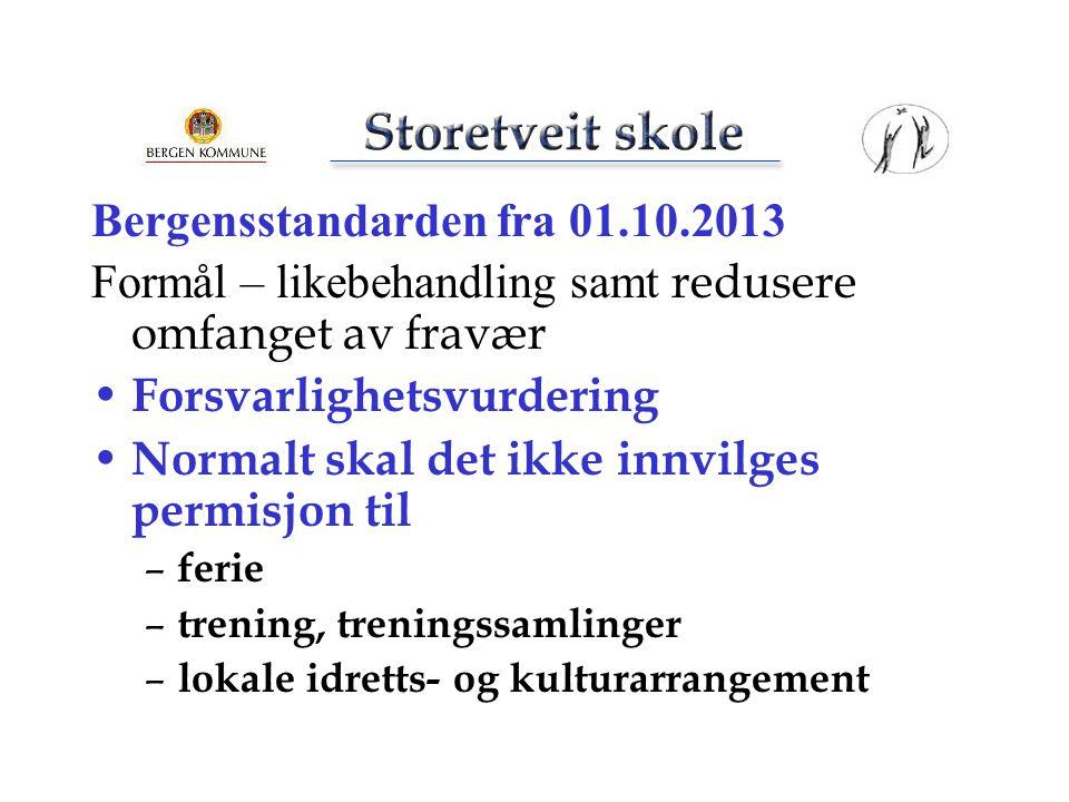 Bergensstandarden fra 01.10.2013 Formål – likebehandling samt redusere omfanget av fravær Forsvarlighetsvurdering Normalt skal det ikke innvilges perm