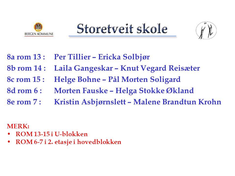 8a rom 13 : Per Tillier – Ericka Solbjør 8b rom 14 : Laila Gangeskar – Knut Vegard Reisæter 8c rom 15 : Helge Bohne – Pål Morten Soligard 8d rom 6 : M