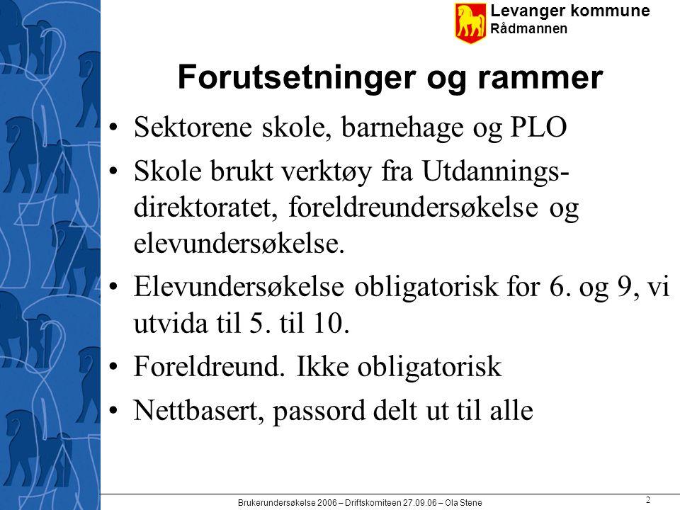 Levanger kommune Rådmannen Brukerundersøkelse 2006 – Driftskomiteen 27.09.06 – Ola Stene 13 Elev og foreldre Hovedtall skolevis