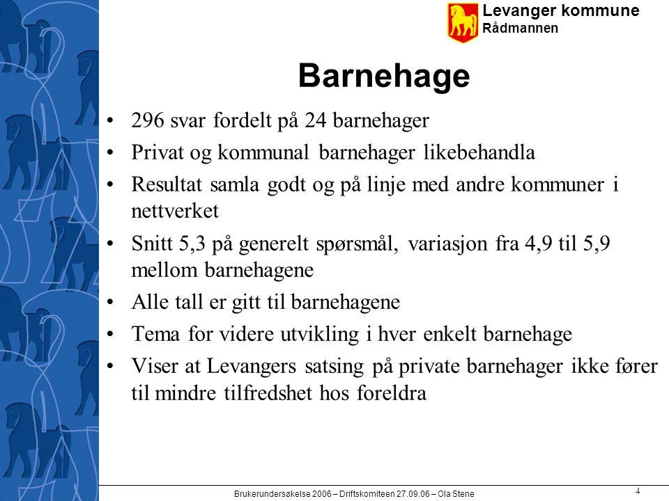 Levanger kommune Rådmannen Brukerundersøkelse 2006 – Driftskomiteen 27.09.06 – Ola Stene 5 Sammenlign med nettverket