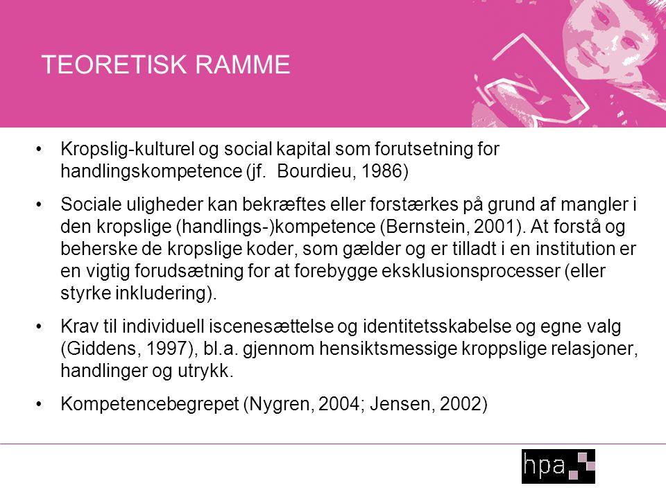 TEORETISK RAMME Kropslig-kulturel og social kapital som forutsetning for handlingskompetence (jf.