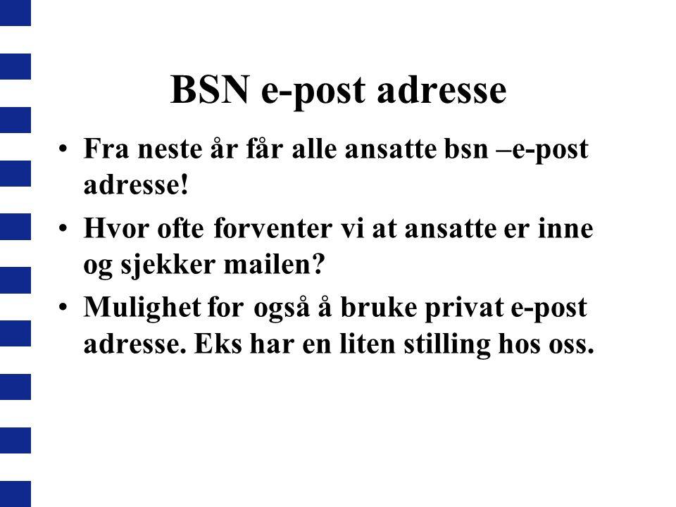 BSN e-post adresse Fra neste år får alle ansatte bsn –e-post adresse! Hvor ofte forventer vi at ansatte er inne og sjekker mailen? Mulighet for også å