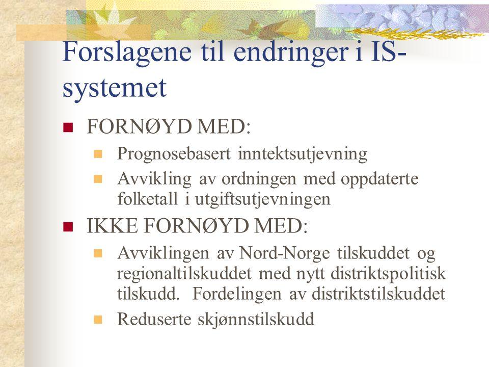 Forslagene til endringer i IS- systemet FORNØYD MED: Prognosebasert inntektsutjevning Avvikling av ordningen med oppdaterte folketall i utgiftsutjevni