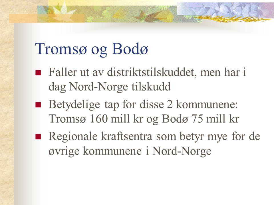 Tromsø og Bodø Faller ut av distriktstilskuddet, men har i dag Nord-Norge tilskudd Betydelige tap for disse 2 kommunene: Tromsø 160 mill kr og Bodø 75