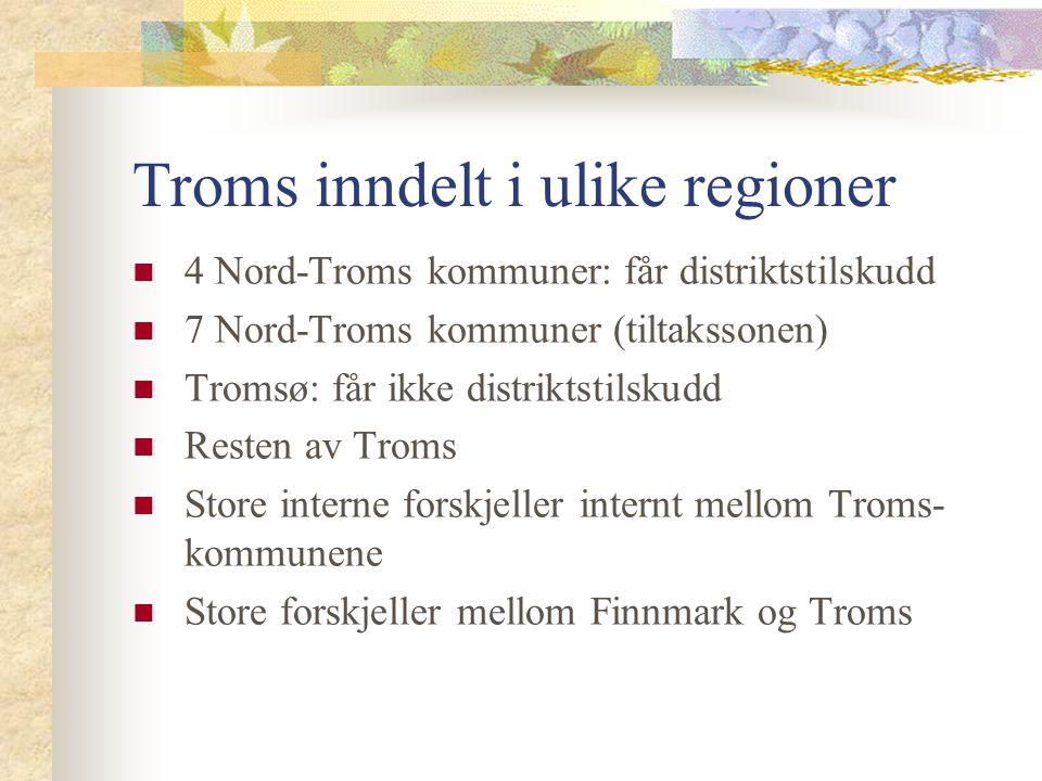 Troms inndelt i ulike regioner 4 Nord-Troms kommuner: får distriktstilskudd 7 Nord-Troms kommuner (tiltakssonen) Tromsø: får ikke distriktstilskudd Re