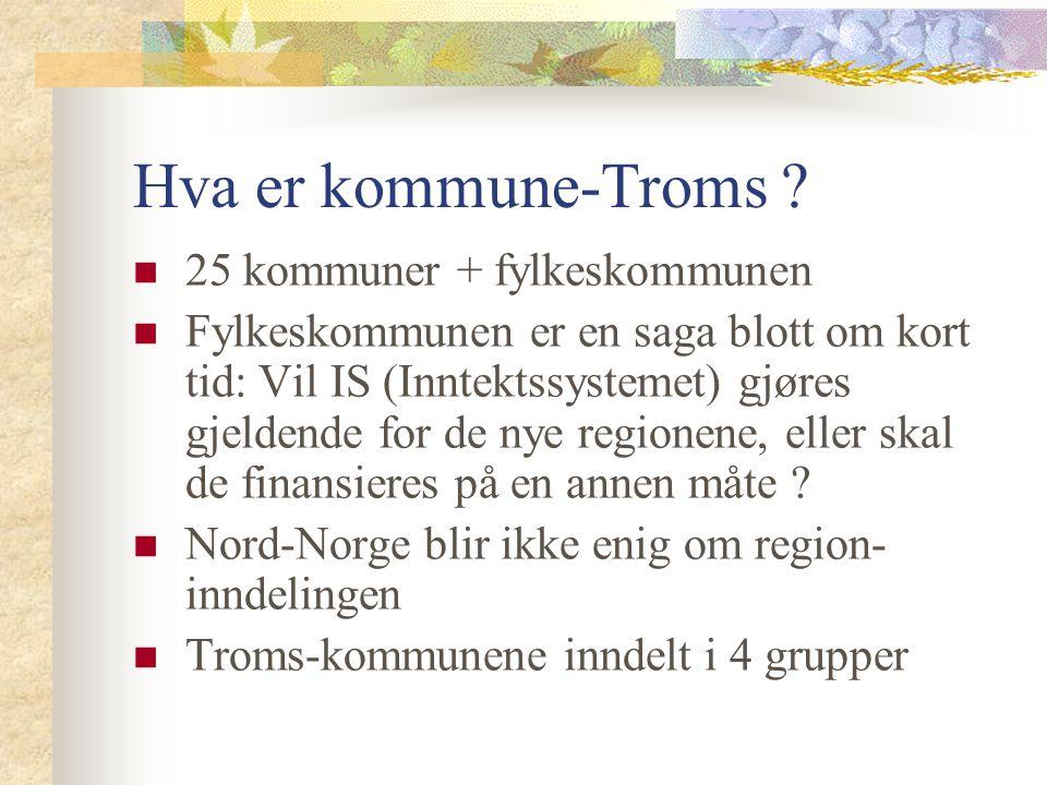 Hva er kommune-Troms ? 25 kommuner + fylkeskommunen Fylkeskommunen er en saga blott om kort tid: Vil IS (Inntektssystemet) gjøres gjeldende for de nye