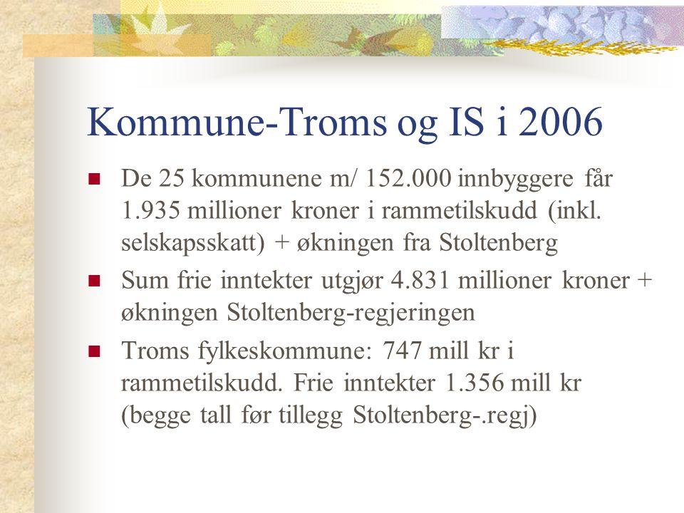 Kommune-Troms og IS i 2006 De 25 kommunene m/ 152.000 innbyggere får 1.935 millioner kroner i rammetilskudd (inkl. selskapsskatt) + økningen fra Stolt