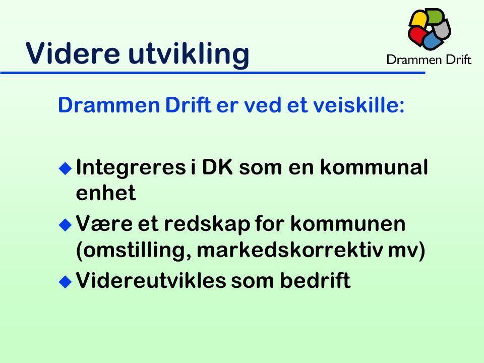 Drammen Drift er ved et veiskille: u Integreres i DK som en kommunal enhet u Være et redskap for kommunen (omstilling, markedskorrektiv mv) u Videreutvikles som bedrift Videre utvikling