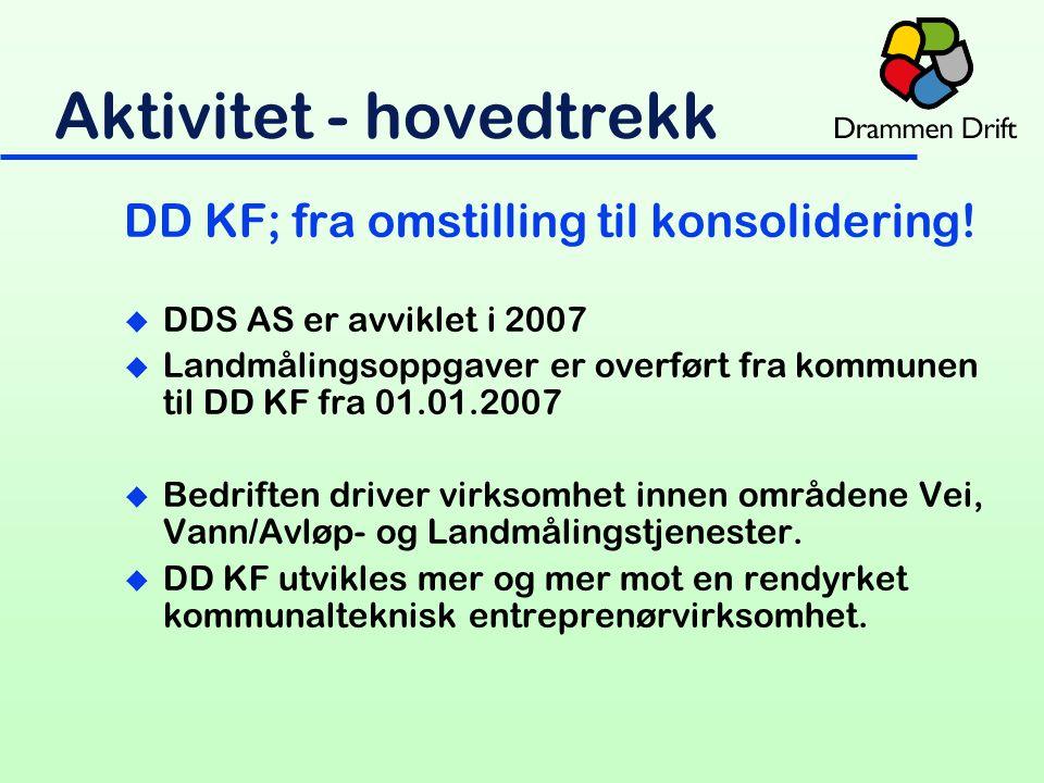 Aktivitet - hovedtrekk DD KF; fra omstilling til konsolidering.