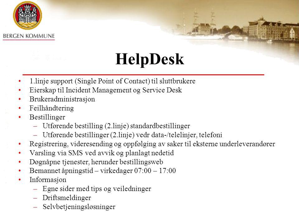 HelpDesk 1.linje support (Single Point of Contact) til sluttbrukere Eierskap til Incident Management og Service Desk Brukeradministrasjon Feilhåndteri