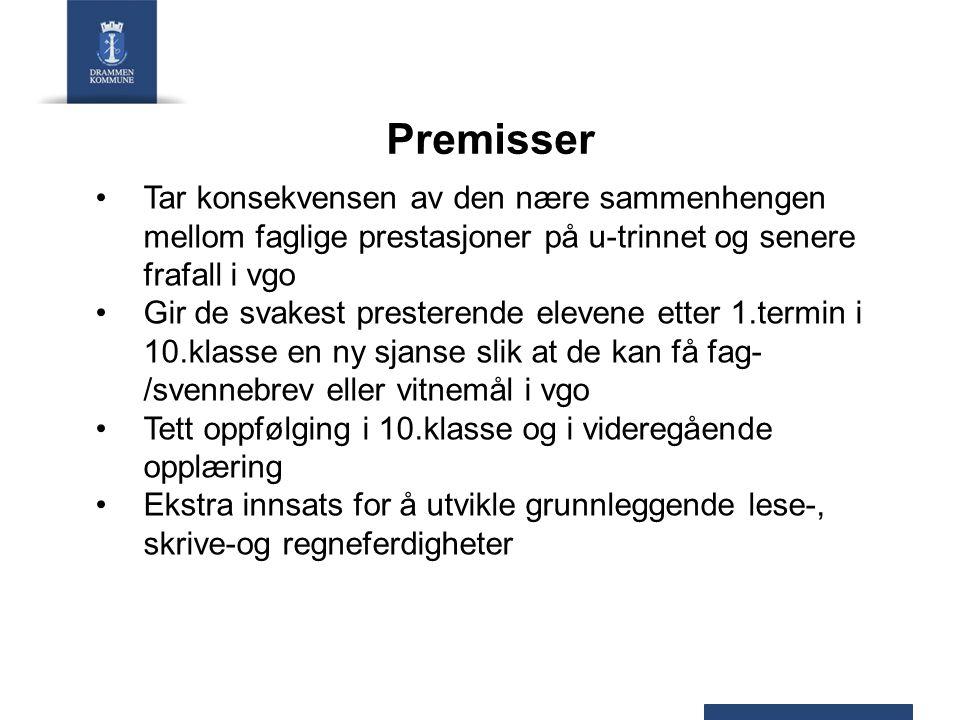 Premisser, forts Fylkeskommunene arbeider for å skape et bærekraftig, strukturert og målrettet samarbeid med kommunene for å sette elevene best mulig i stand til å gjennomføre videregående opplæring 30-50% av den totale elevmassen på ungdomsskolene i fylket er grunnlaget første året Drammen og Kongsberg kommune i 2011.