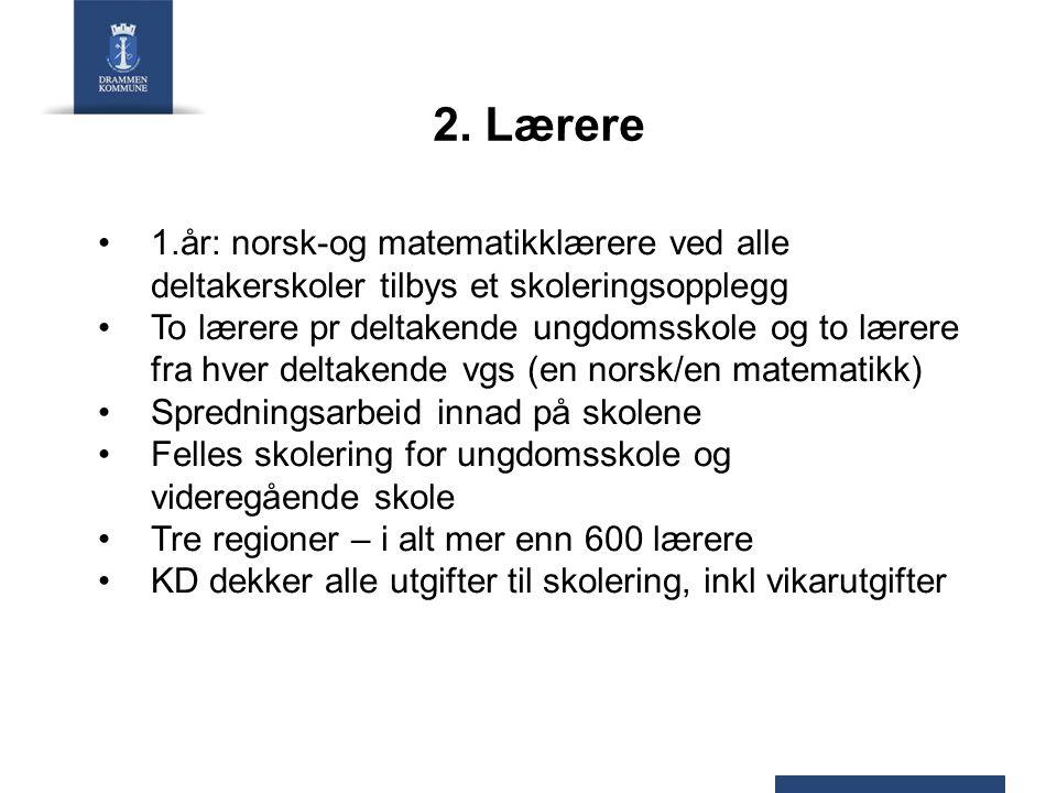 2. Lærere 1.år: norsk-og matematikklærere ved alle deltakerskoler tilbys et skoleringsopplegg To lærere pr deltakende ungdomsskole og to lærere fra hv