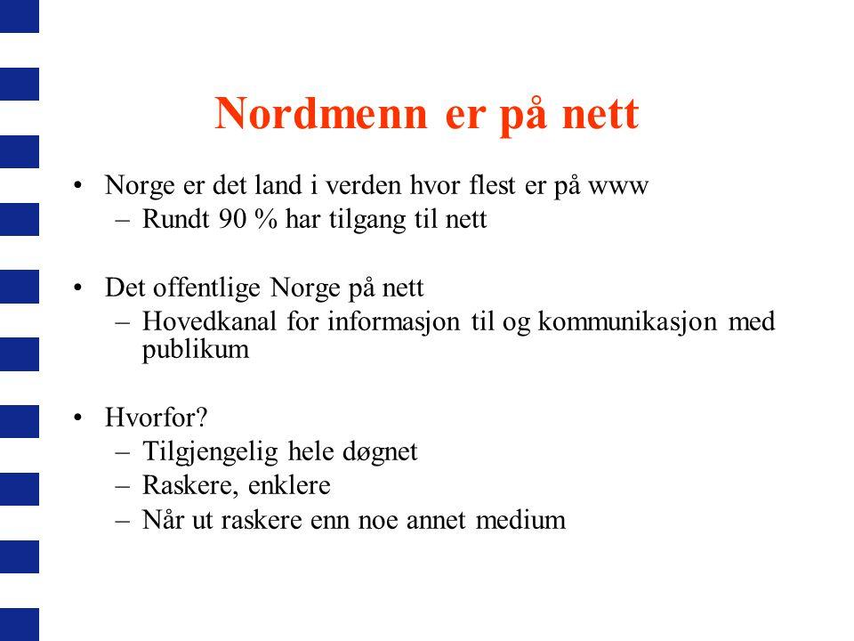 Nordmenn er på nett Norge er det land i verden hvor flest er på www –Rundt 90 % har tilgang til nett Det offentlige Norge på nett –Hovedkanal for informasjon til og kommunikasjon med publikum Hvorfor.