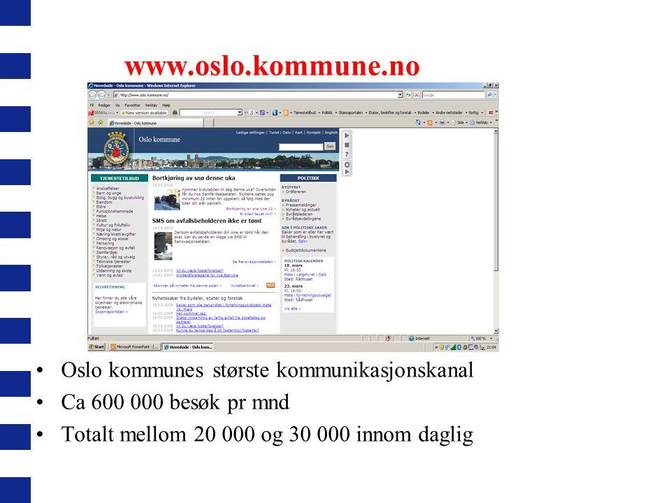 www.oslo.kommune.no Oslo kommunes største kommunikasjonskanal Ca 600 000 besøk pr mnd Totalt mellom 20 000 og 30 000 innom daglig