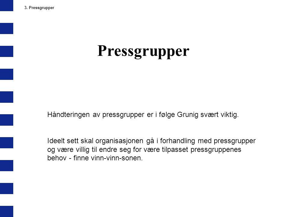 Pressgrupper 3. Pressgrupper Håndteringen av pressgrupper er i følge Grunig svært viktig. Ideelt sett skal organisasjonen gå i forhandling med pressgr