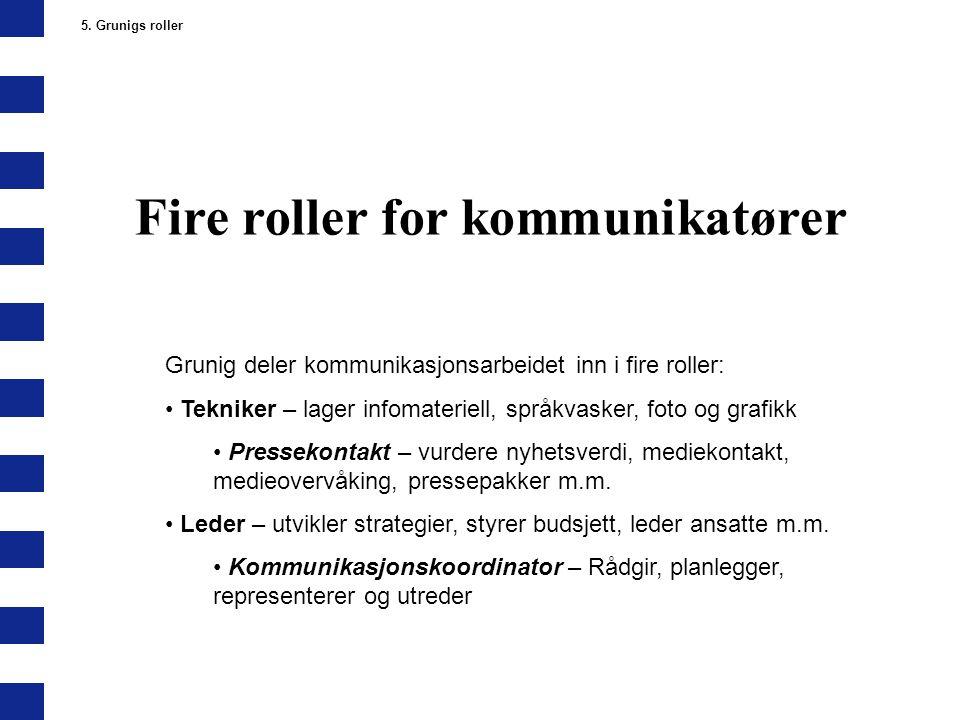 Fire roller for kommunikatører 5. Grunigs roller Grunig deler kommunikasjonsarbeidet inn i fire roller: Tekniker – lager infomateriell, språkvasker, f