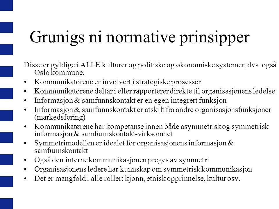 Grunigs ni normative prinsipper Disse er gyldige i ALLE kulturer og politiske og økonomiske systemer, dvs. også Oslo kommune. Kommunikatørene er invol