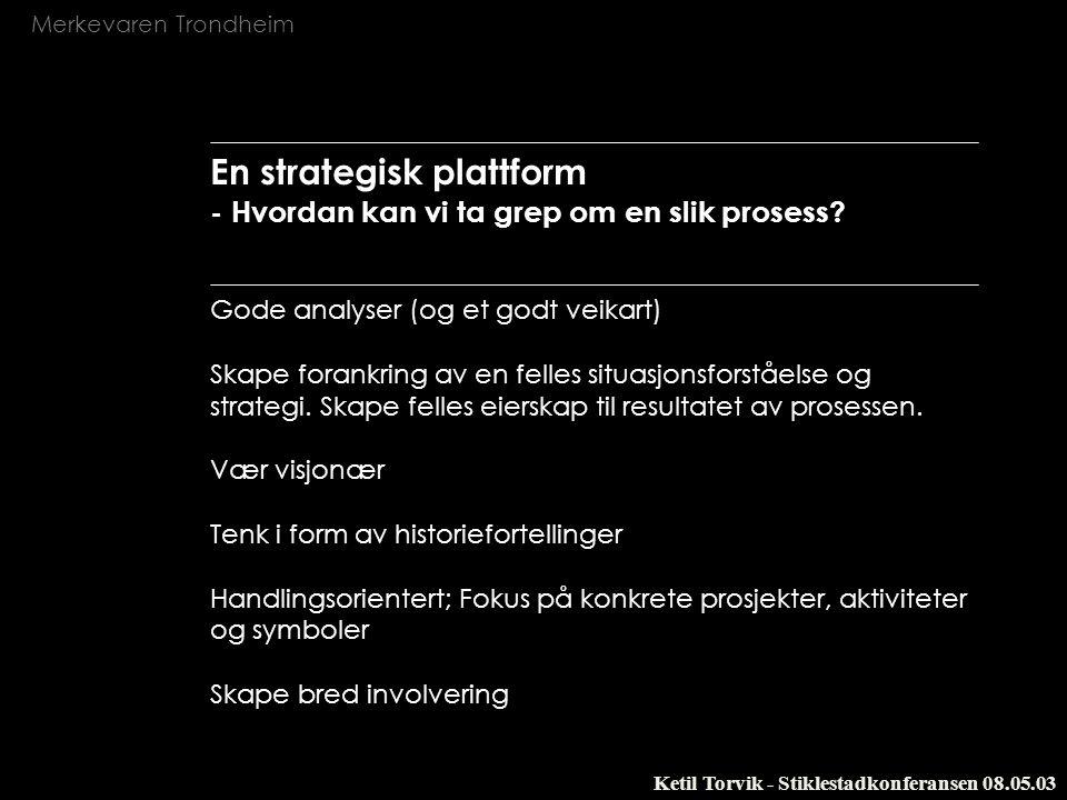 Merkevaren Trondheim Ketil Torvik - Stiklestadkonferansen 08.05.03 En strategisk plattform - Hvordan kan vi ta grep om en slik prosess? Gode analyser