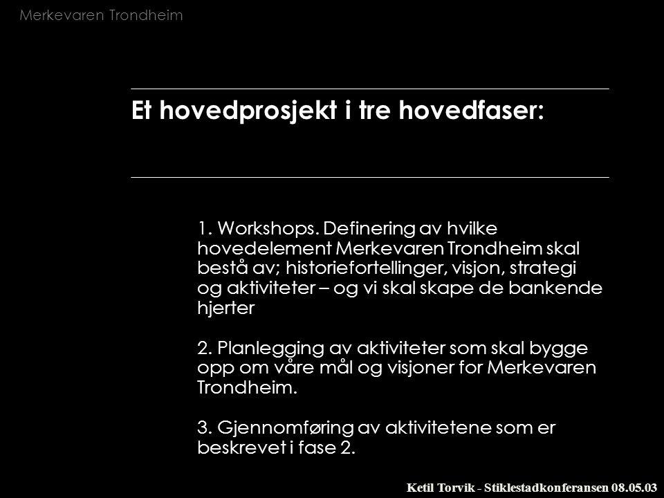 Merkevaren Trondheim Ketil Torvik - Stiklestadkonferansen 08.05.03 Et hovedprosjekt i tre hovedfaser: 1. Workshops. Definering av hvilke hovedelement