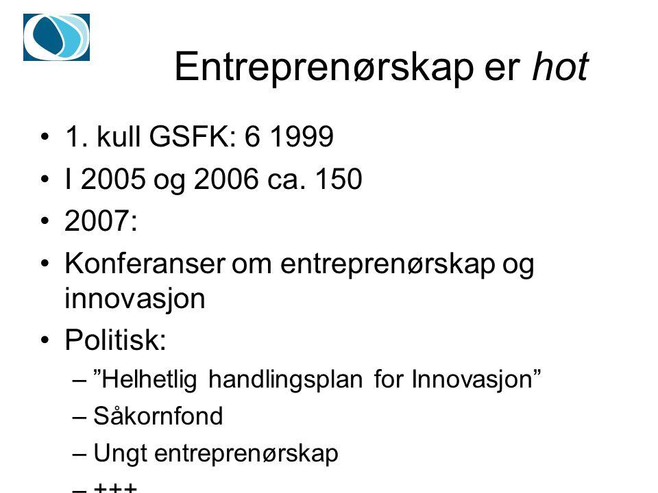 Entreprenørskap er hot 1. kull GSFK: 6 1999 I 2005 og 2006 ca.