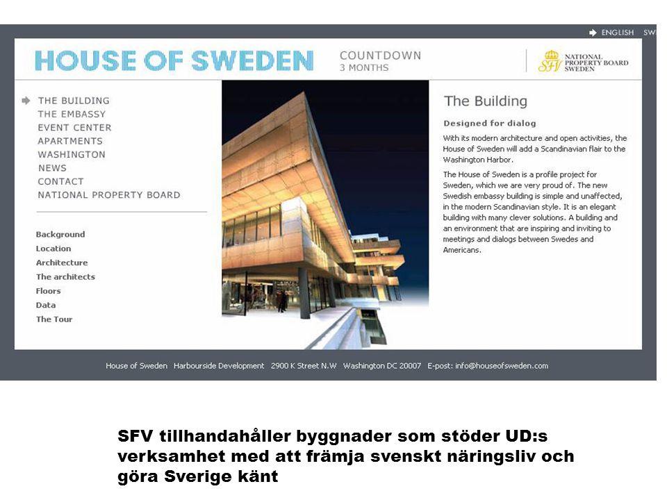 MAXBO Skolen LS # 1- 98 S 69 BRANSJENS BESTE OPPLÆRINGSPROGRAM SFV tillhandahåller byggnader som stöder UD:s verksamhet med att främja svenskt näringsliv och göra Sverige känt