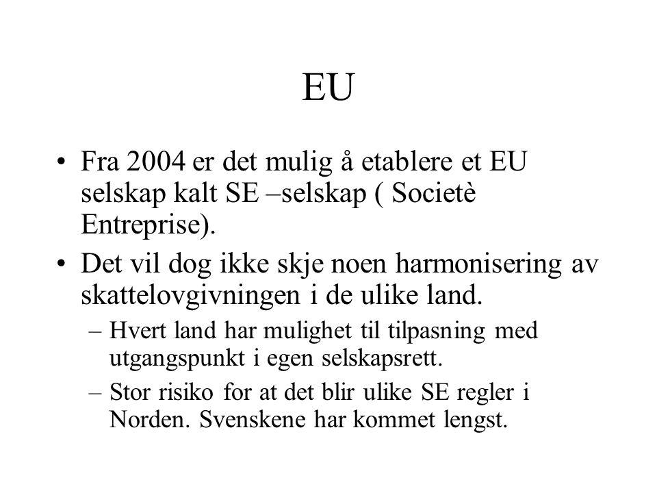 MAXBO Skolen LS # 1- 98 S 9 BRANSJENS BESTE OPPLÆRINGSPROGRAM EU Fra 2004 er det mulig å etablere et EU selskap kalt SE –selskap ( Societè Entreprise).