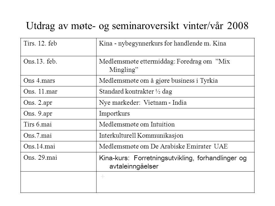 MAXBO Skolen LS # 1- 98 S 91 BRANSJENS BESTE OPPLÆRINGSPROGRAM Utdrag av møte- og seminaroversikt vinter/vår 2008 Tirs.