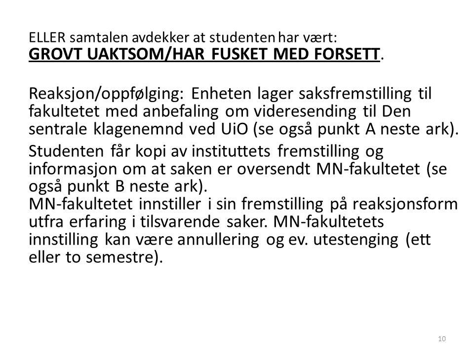 ELLER samtalen avdekker at studenten har vært: GROVT UAKTSOM/HAR FUSKET MED FORSETT.