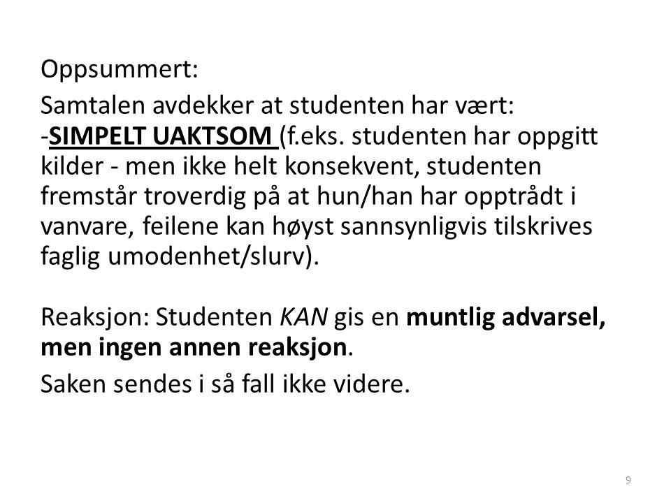 Oppsummert: Samtalen avdekker at studenten har vært: -SIMPELT UAKTSOM (f.eks.