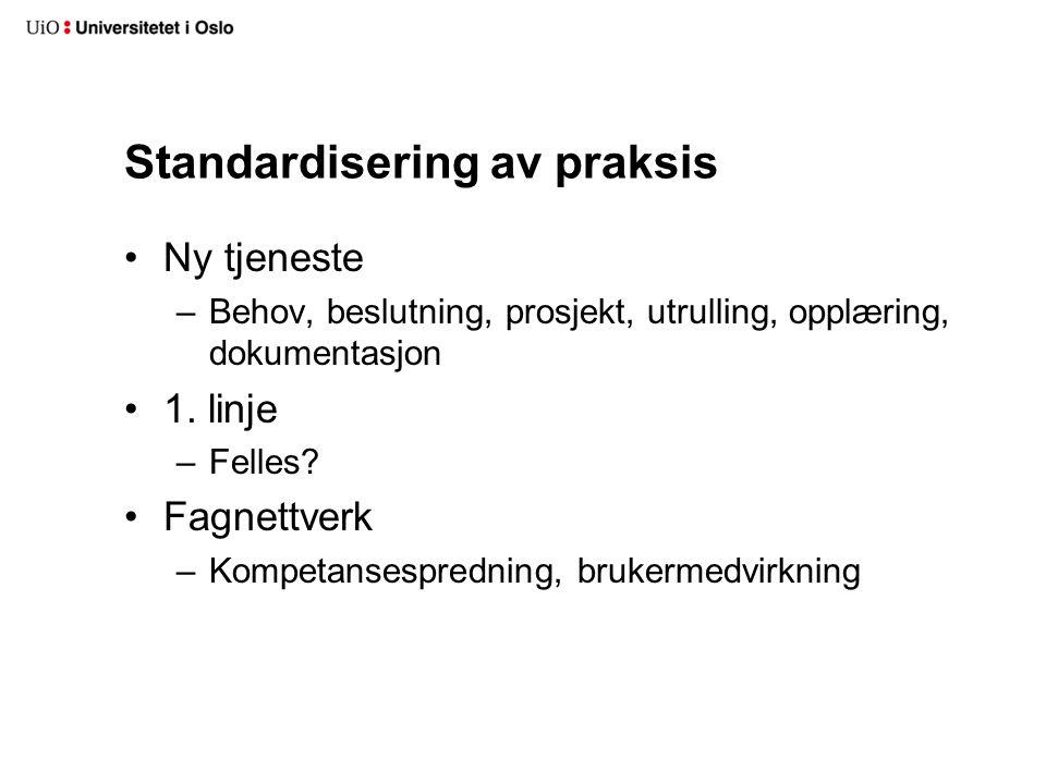 Standardisering av praksis Ny tjeneste –Behov, beslutning, prosjekt, utrulling, opplæring, dokumentasjon 1.
