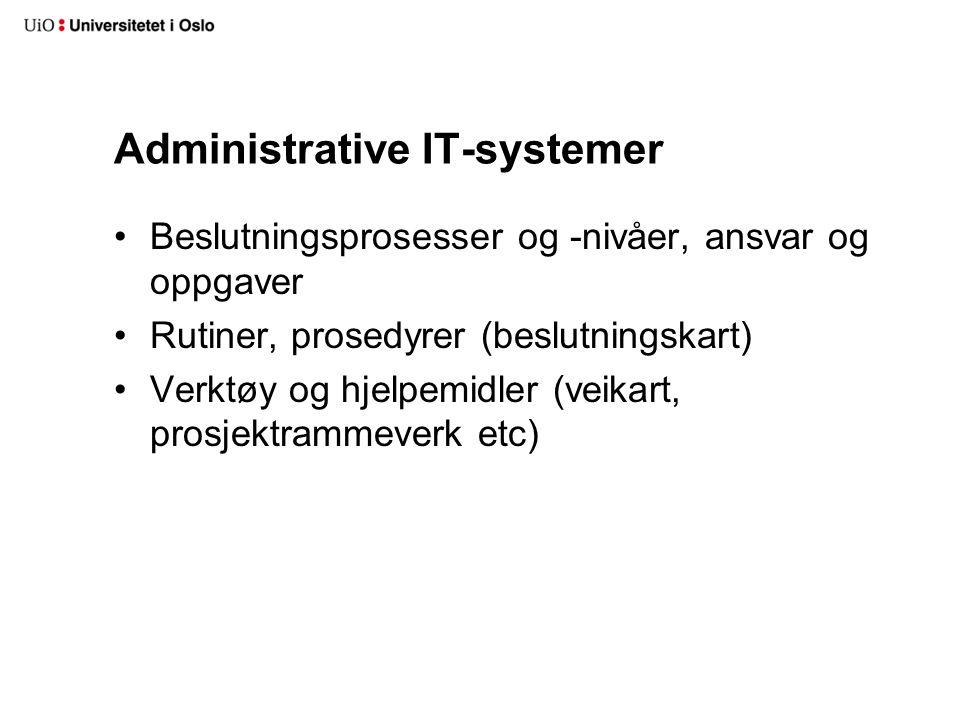 Administrative IT-systemer Beslutningsprosesser og -nivåer, ansvar og oppgaver Rutiner, prosedyrer (beslutningskart) Verktøy og hjelpemidler (veikart, prosjektrammeverk etc)