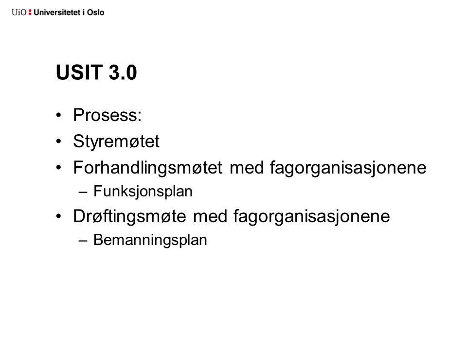 USIT 3.0 Prosess: Styremøtet Forhandlingsmøtet med fagorganisasjonene –Funksjonsplan Drøftingsmøte med fagorganisasjonene –Bemanningsplan