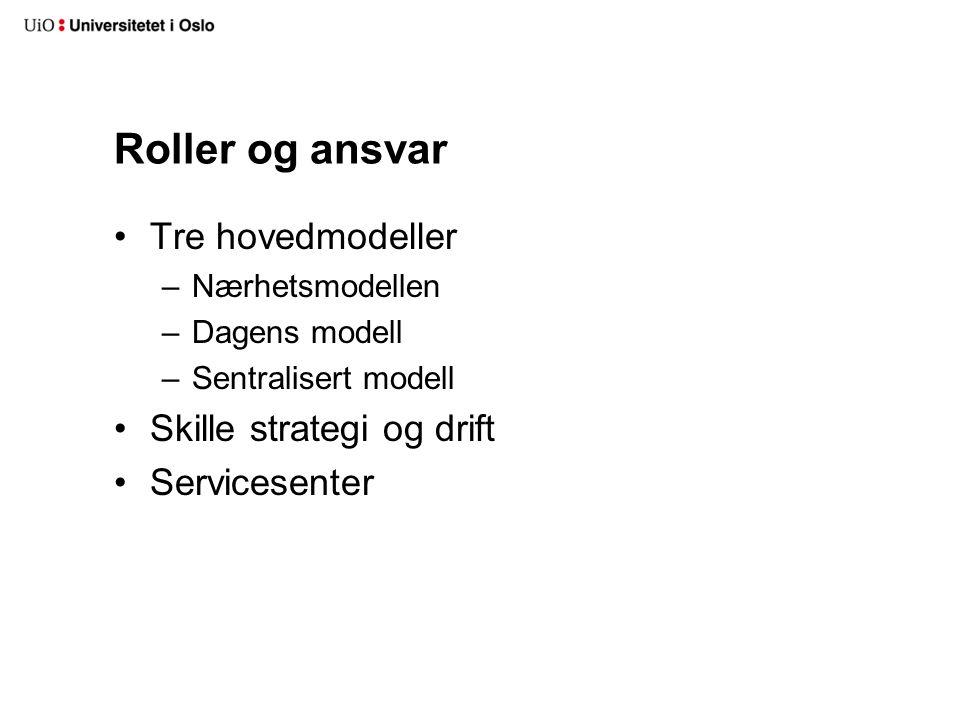 Roller og ansvar Tre hovedmodeller –Nærhetsmodellen –Dagens modell –Sentralisert modell Skille strategi og drift Servicesenter