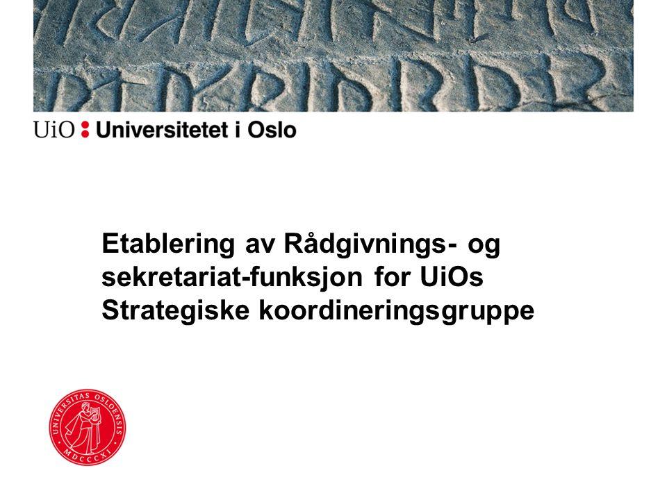 Etablering av Rådgivnings- og sekretariat-funksjon for UiOs Strategiske koordineringsgruppe