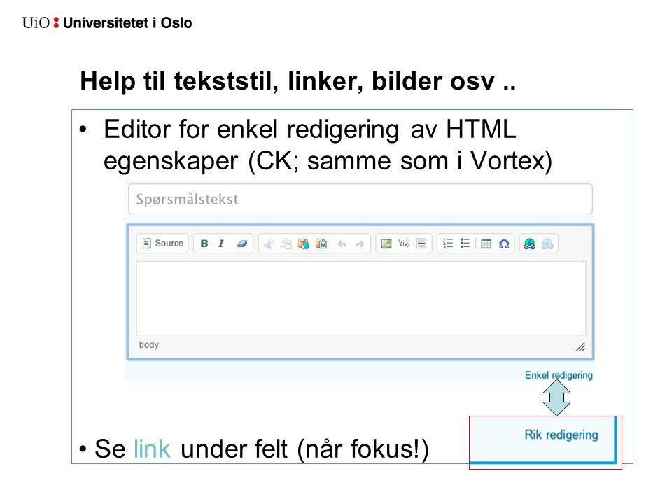 Help til tekststil, linker, bilder osv..