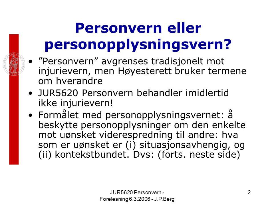 JUR5620 Personvern - Forelesning 6.3.2006 - J.P.Berg 2 Personvern eller personopplysningsvern.