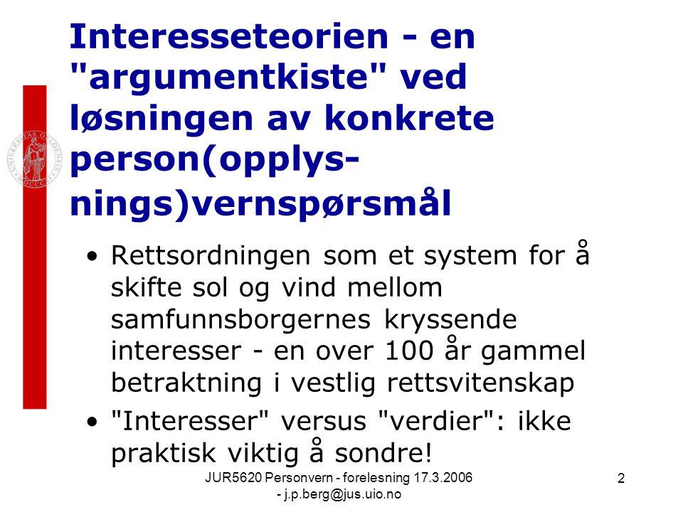 JUR5620 Personvern - forelesning 17.3.2006 - j.p.berg@jus.uio.no 2 Interesseteorien - en