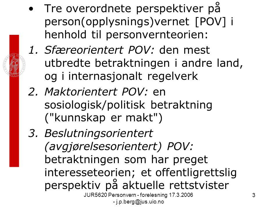 JUR5620 Personvern - forelesning 17.3.2006 - j.p.berg@jus.uio.no 3 Tre overordnete perspektiver på person(opplysnings)vernet [POV] i henhold til personvernteorien: 1.Sfæreorientert POV: den mest utbredte betraktningen i andre land, og i internasjonalt regelverk 2.Maktorientert POV: en sosiologisk/politisk betraktning ( kunnskap er makt ) 3.Beslutningsorientert (avgjørelsesorientert) POV: betraktningen som har preget interesseteorien; et offentligrettslig perspektiv på aktuelle rettstvister