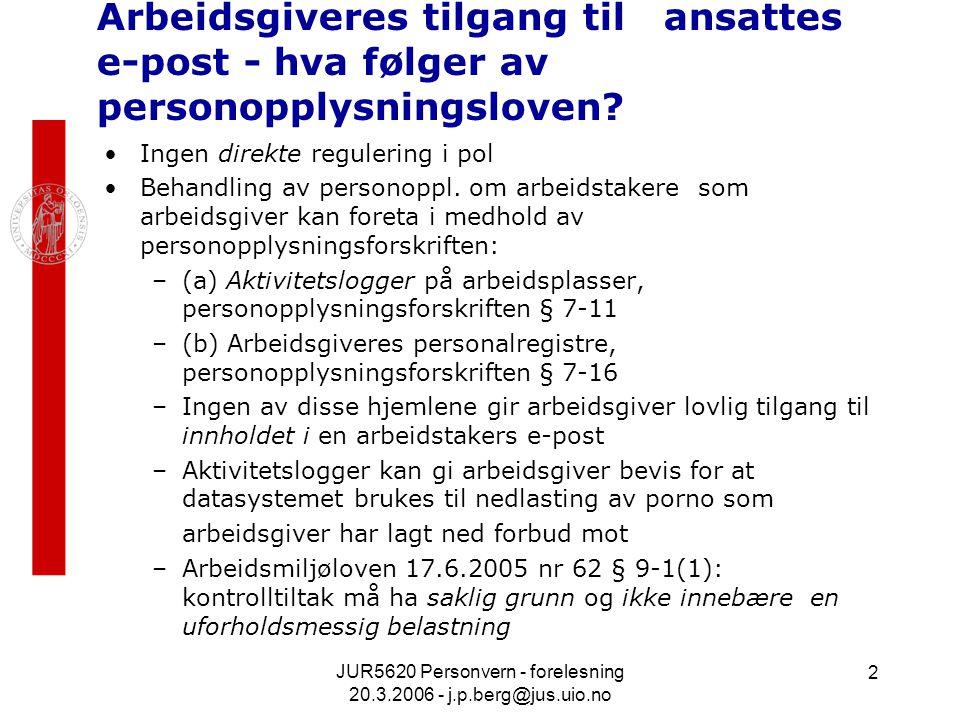 JUR5620 Personvern - forelesning 20.3.2006 - j.p.berg@jus.uio.no 2 Arbeidsgiveres tilgang til ansattes e-post - hva følger av personopplysningsloven.