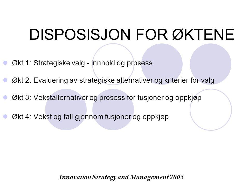 DISPOSISJON FOR ØKTENE Økt 1: Strategiske valg - innhold og prosess Økt 2: Evaluering av strategiske alternativer og kriterier for valg Økt 3: Vekstalternativer og prosess for fusjoner og oppkjøp Økt 4: Vekst og fall gjennom fusjoner og oppkjøp Innovation Strategy and Management 2005