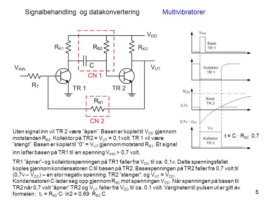 5 Signalbehandling og datakonverteringMultivibratorer Uten signal inn vil TR 2 være åpen .