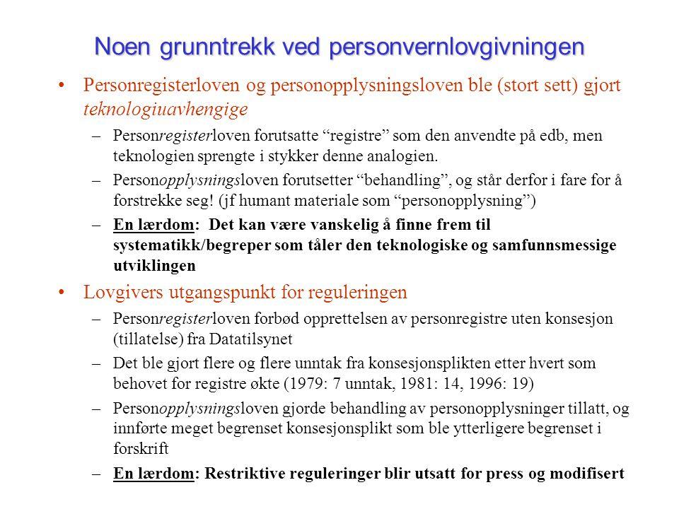 Noen grunntrekk ved personvernlovgivningen Personregisterloven og personopplysningsloven ble (stort sett) gjort teknologiuavhengige –Personregisterloven forutsatte registre som den anvendte på edb, men teknologien sprengte i stykker denne analogien.