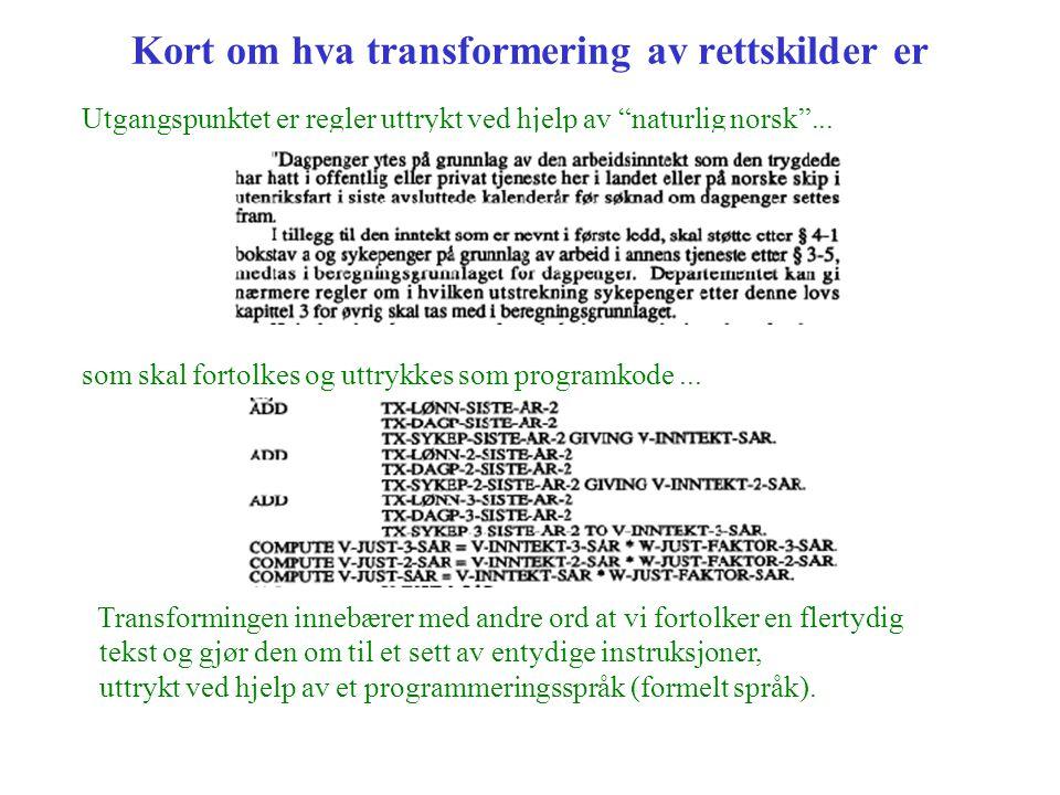 """Kort om hva transformering av rettskilder er Utgangspunktet er regler uttrykt ved hjelp av """"naturlig norsk""""... som skal fortolkes og uttrykkes som pro"""