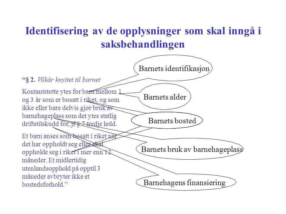 Identifisering av de opplysninger som skal inngå i saksbehandlingen § 2.