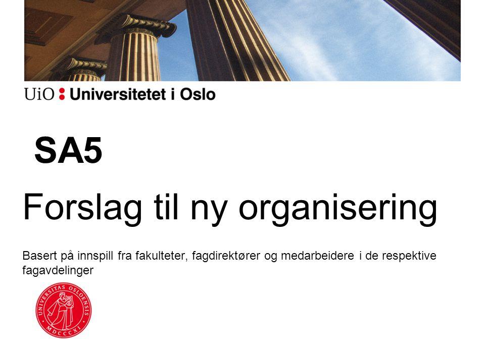 SA5 Forslag til ny organisering Basert på innspill fra fakulteter, fagdirektører og medarbeidere i de respektive fagavdelinger